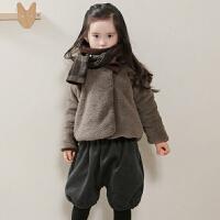 2018秋冬季款韩版童装女童加绒加厚外套中大童羊羔绒短款上衣潮
