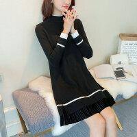 中长款毛衣女宽松秋冬季新款韩版大码套头针织打底衫加厚裙装