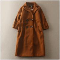 冬季气质纯色百搭双排扣修身中长款风衣外套女 24296