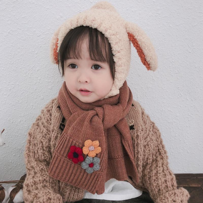 秋冬季新款儿童太阳花可爱针织小孩保暖宝宝围巾男女童围脖潮