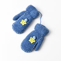 6-8岁儿童挂脖手套冬天女加绒可爱加厚棉手套冬季保暖防寒小朋友