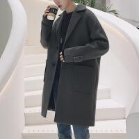 冬季毛呢大衣外套男宽松韩国青年中长款呢子风衣潮流妮子大衣男装 水泥灰 M