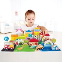 Hape 城市交通积木 儿童益智拼搭积木 婴幼儿早教1-3岁积木拼装玩具木质玩具