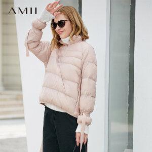 【品牌团 1件7折/2件5折】Amii[极简主义]活力保暖 90白鸭绒绑带羽绒女 2017冬装新高领套头