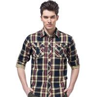 森林吉普senlin Jeep男装衬衫 2015新品男士格子长袖衬衫男装纯棉水洗衬衫 男
