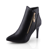 2017秋冬时尚女靴尖头侧拉链短靴高跟细跟性感休闲马丁靴