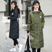 中长款棉衣女韩版时尚不对称印花连帽加厚保暖个性休闲冬装外 B1269军绿色