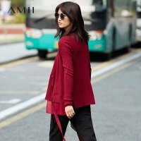 【预估价134元】Amii[极简主义]绑带毛衣外套女秋装慵懒风修身雪纺拼接开衩上衣