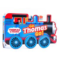 【满300-100】托马斯小火车造型书Thomas and Friends Go Thomas, Go!英文原版绘本 儿