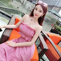 2018夏装新款韩版度假弹力格子无袖抹胸性感上衣+大摆长裙套装女 80-120斤都可穿)