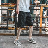 夏季新款青少年潮流毛边休闲裤子运动短裤日系男士宽松沙滩裤