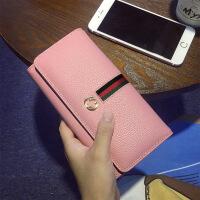 七夕礼物新款2018欧美女士钱包时尚简约钱夹多卡位长款手拿包女手机钱夹潮 粉红色