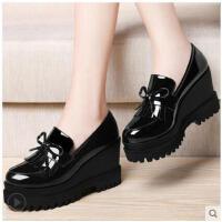 古奇天伦新款英伦风小皮鞋厚底鞋松糕鞋高跟女鞋坡跟单鞋BNT8457