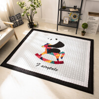 屁屁妈 加厚卡通棉质婴儿爬爬垫儿童爬行垫宝宝游戏地毯地垫 白色 熊猫和木马普通款 195*145