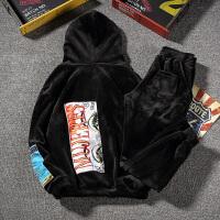 加绒加厚连帽套头卫衣套装胖子大码保暖韩版运动外套冬季潮 黑泼墨 DZ202 黑色