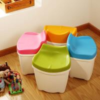 欧润哲 台湾制儿童糖果色塑料储物凳子收纳箱套装 收�{凳换鞋凳防水塑料整理箱