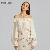 Five Plus2019新款女夏装刺绣衬衫女宽松一字领衬衣纯棉拼荷叶边