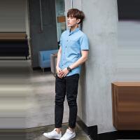 唐狮男装短袖牛仔衬衫 2017新款衬衫 夏季休闲衬衣 修身韩版衬衫