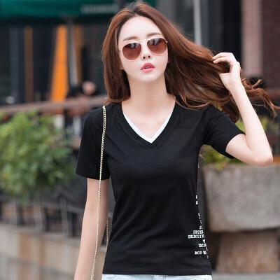 夏季新款棉质T恤女V领韩范字母印花假两件大码时尚潮半袖体恤衫