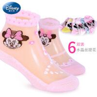 迪士尼女童袜子夏季丝袜薄款3儿童5透明短袜7非纯棉9岁女宝宝短袜