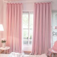 定制窗帘成品双层韩式公主蕾丝白纱帘纯色遮光窗帘布卧室客厅飘窗