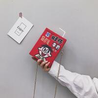 【特惠】2019优选chic可爱网红小包包女2019新款卡通牛奶单肩包洋气链条斜挎盒子包 红色旺仔