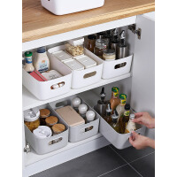 杂物收纳筐学生桌面零食储物盒塑料化妆品收纳盒家用厨房整理盒子