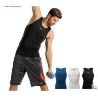 舒适百搭纯色无袖上衣篮足球男士运动T恤健身服球衣紧身衣背心弹力衣