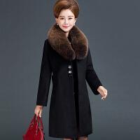 妈妈装秋冬季毛呢大衣中长款大码中老年女40-50-60岁呢子外套上衣