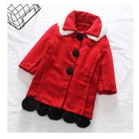 女童新年装呢大衣外套 女童女宝宝中长款夹棉大衣