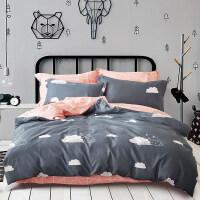 四件套全棉简约冬季床上用品1.5被罩1.8m床双人条纹床单被套