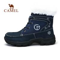 骆驼户外女休闲徒步鞋 秋冬牛皮高帮加绒保暖防滑徒步鞋