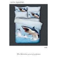 新款宇宙床上用品3D星空床单四件套被套枕套2.0m床包梦幻套件床笠 白色 新品速递 大鲨鱼