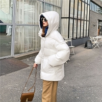 七格格羽绒服女2019新款冬季中长款韩版收腰加厚时尚黑色连帽外套
