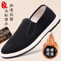 老北京布鞋男冬季加�q棉鞋手工千�拥仔蓍e鞋一�_蹬男士橡�z�底鞋