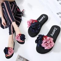 一字拖女夏季时尚休闲平底百搭韩版外穿平跟海边花朵沙滩鞋凉拖鞋