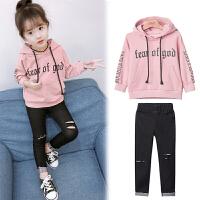 儿童套装春秋装2018新款韩版女孩卫衣牛仔裤长袖两件套