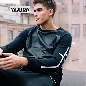 viishow秋装新款卫衣 欧美街头拼皮卫衣 男式修身套头长袖潮 W125153