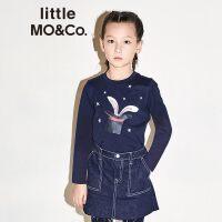 littlemoco秋季新品儿童T恤圆领魔术帽兔耳朵印花图案长袖T恤
