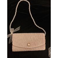 绸缎褶皱珍珠包包晚宴包链条斜挎手拿包女