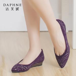 Daphne/达芙妮时尚舒适水钻磨砂平底单鞋尖头低跟女鞋