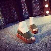 松糕厚底凉拖夏韩版一字拖潮时尚增高女鞋12cm超高跟坡跟拖鞋