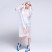 明嘉 EVA雨衣半透明可爱成人女雨衣长款带帽骑行雨衣 826