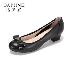 【达芙妮集团】 春夏款蝴蝶结水钻牛皮中低跟女鞋