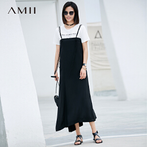 AMII极简优雅欧货潮chic雪纺中长款女2018夏秋新款流苏纯色半身裙.