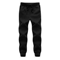 冬季大码运动裤男加绒加厚小脚裤胖子宽松加肥加大羊羔绒保暖长裤 黑色 865R L 110斤左右