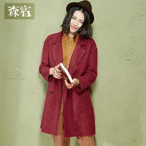森宿天亮以后冬装女士修身双排扣大衣复古红色毛呢外套女长款