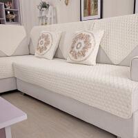 棉布艺沙发垫夏季简约坐垫现代四季欧式通用沙发套包定做J 乳白色 桃心
