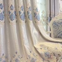 欧式窗帘客厅大气落地卧室简欧遮光晒绣花窗帘纱帘成品J