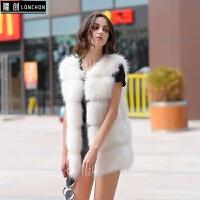 仿皮草马甲女中长款獭兔毛新款冬狐狸毛拼接显瘦白色毛毛外套 白色